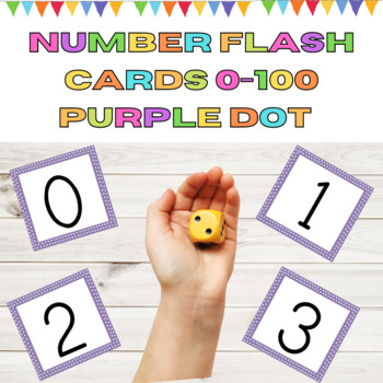 Number Flashcards 0-100 Purple Dot