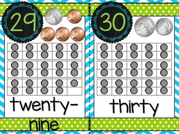 Number cards 0-30 Blue, Lime Green, Gray themed!