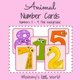 Animal Number Cards - Pink
