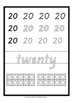 Number cards 0 to 20  – New Zealand handwriting font