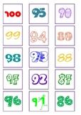 Number cards 1 - 100 5cmx5cm