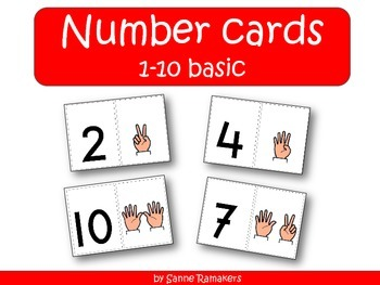 Number cards 1 through 10 with raised fingers