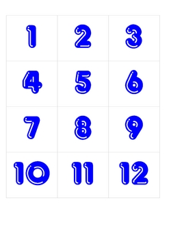 Number cards / Calendar numbers for bulletin boards