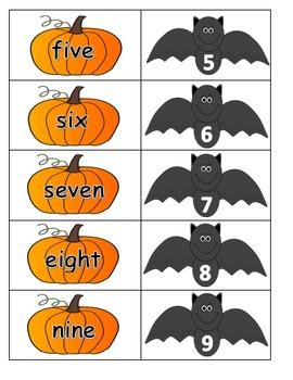 Number cards - pumpkins and bats 0-10