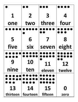 Number cards with dots 0-15