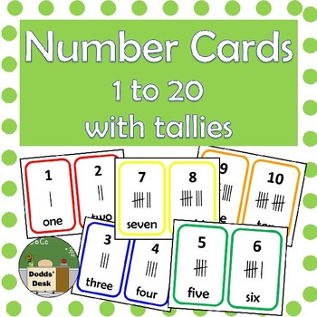 Number 1-20 cards with tallies - 5 colours