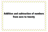 Number cards zero-twenty
