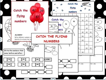 """Number concepts 1 to 100   """"Catch the flying numbers"""" worksheets and activities"""