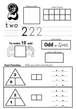Number facts maths sheet
