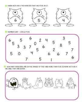 Number five worksheets