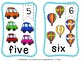 Number flash cards -Transport theme FREE)