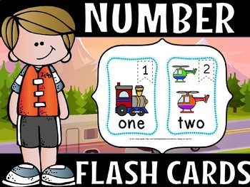 Number flash cards -Transport theme
