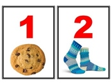 Number flashcard 1-20 with real pictures of objects
