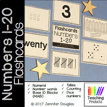 Number Flashcards 1-20 Numeral, Number, Tally, Tens Frame, Base Ten, and Picture