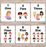 Number flashcards - Mermaids and Pirates