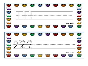 Number formation cards - Colored Owls Theme