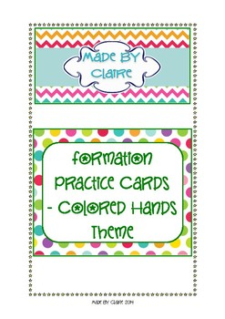 Number formation cards - Colored hands theme