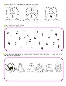 Number Four worksheets