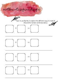Number (friends of 10) printable task