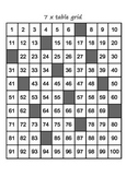 Number grids for learning 7 and 8 times tables. Visual learners