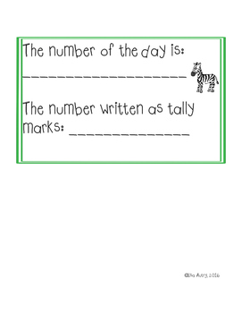 Number, letter, and sight word of the day