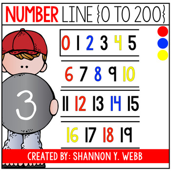 Number line 0-200 (Red, Blue, & Yellow)