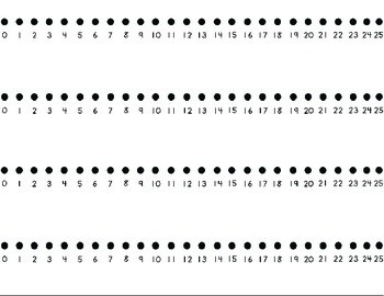 Number line 0 to 25 (4 on a page)