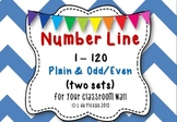 Number line 1 to 120 Plain & Odd/Even {Big for your classroom wall}