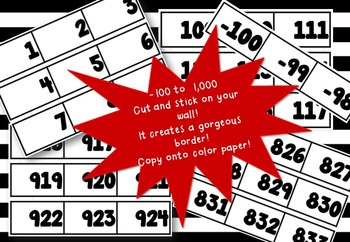 Number line -100  to 1,000 {BIG for your wall}