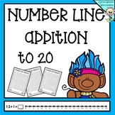 Number Line Addition to 20 (Twenty) Worksheets and Printables (Numberline)