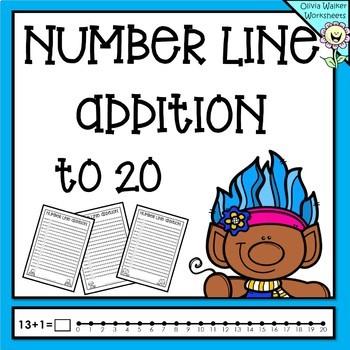 Number Line Addition to 20 (Twenty) Worksheets and Printables (Numberline)