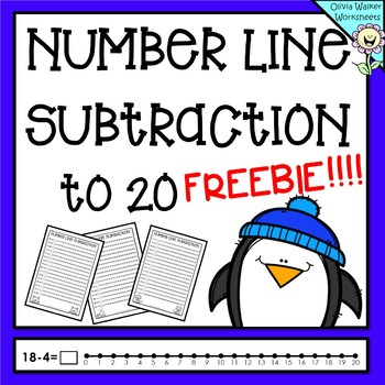 Number line Subtraction to 20 (Twenty) Worksheets and Prin