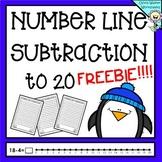 Number Line Subtraction to 20 (Twenty) Worksheets and Prin
