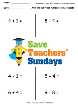 Number Line Addition and Subtraction Worksheets (4 levels of difficulty)