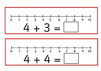 Number line addition mats