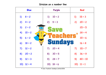 Number line division worksheets (3 levels of difficulty)