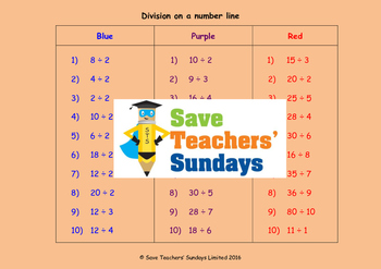 Number line division lesson plans, worksheets and more