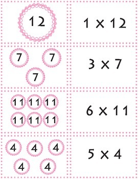 Multiplication in Pictures:  Matching Activity  Valentine's Day themed