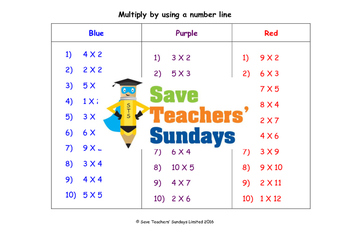 Multiplication worksheets (3 levels of difficulty)