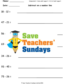 Number Line Subtraction Worksheets (4 levels of difficulty)