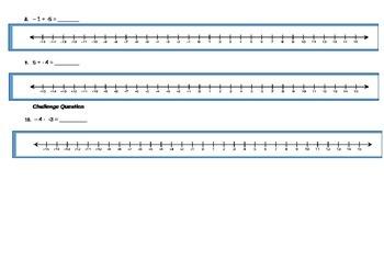 Number lines Worksheet- Positive & Negative numbers Addition & Subtraction