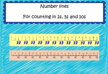 Number lines for counting in 2's, 5's and 10's