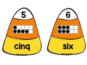 Candy corn Number match - FRENCH - nombres de 1 à 20