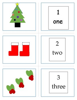 Number match up 1 - 10      Christmas Theme