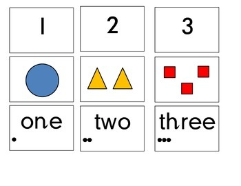 Number matching cards with picture, number and numeral 1-10