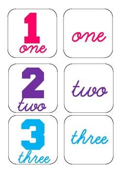 Number names memory game