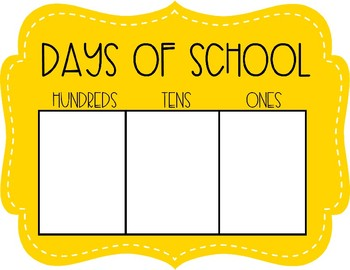 Number of Days of School Place Value Poster