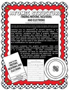 Number of Protons, Neutrons Electrons Graphic Organizer and Worksheet