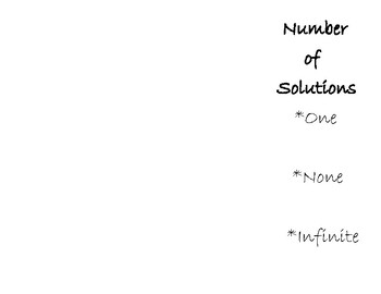 Number of Solutions Foldable - Solving One Variable Multi Step Equations