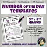 Number of The Day Templates Binder Grade 3/4 BIG IDEAS; Place Value, Fractions